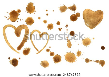 Traces of a coffee texture. Splashes and traces of coffee  on white background. Vector set. Coffee hearts - stock vector