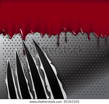 Traces of an animal claws and blood on steel background. Ready for a text. - stock vector
