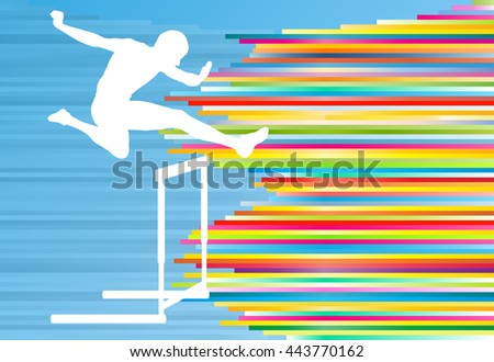 Track and field athlete competing during hurdle race barrier running vector background concept - stock vector