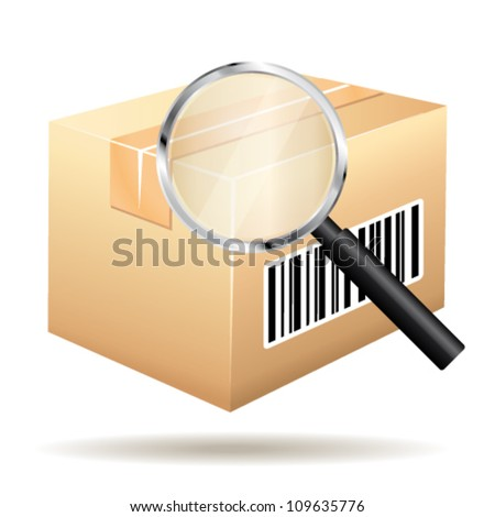 Tracking parcel services. Order with bar-code and loop vector  icon.
