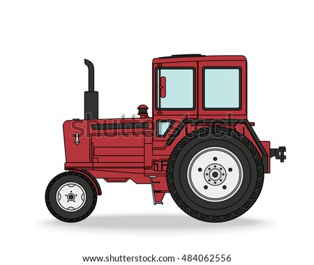 Tractor. Agricultural machine. Vector illustration. Red farm vehicle for transportation and cultivation of earth isolated on white with shadow.