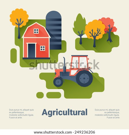 Tractor and Barn on the Farm. Agricultural Industry Concept. Flat Style with Long Shadows. Clean Design. Vector Illustration. - stock vector