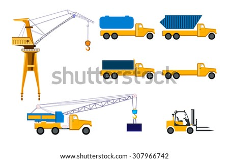 Tractor and forklift trucks. Vector Illustration