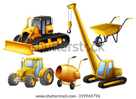 Tractor and other vehicles used in construction site illustration