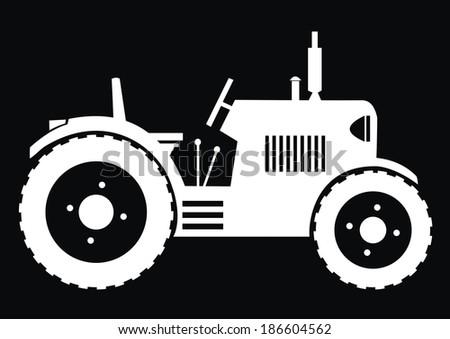 Tractor - black background - stock vector