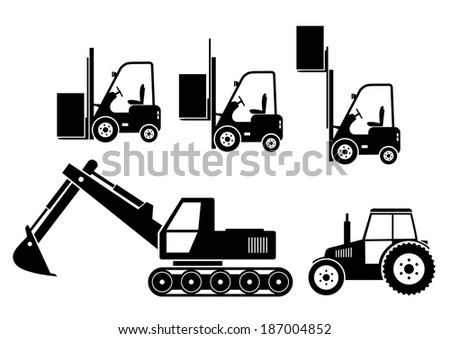 Tractor, excavator and forklift on white background   - stock vector