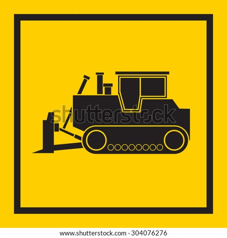 Tractor, excavator, bulldozer, crawler, Wheeled and continuous track with blade and backhoe. illustration or icon. on yellow background. EPS 10 vector, sign - stock vector