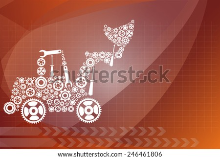 tractor. icon of tractor from gears. vector eps10 - stock vector