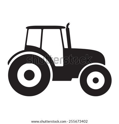 Tractor icon or sign isolated on white background. Transportation flat icon. Vector illustration. - stock vector