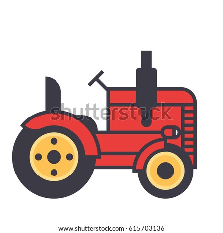 Tractor icon symbol: retro agriculture, agronomy, harvest, farmer, farming. Editable strokes. Flat design line vector illustration concept. Image isolated on white background