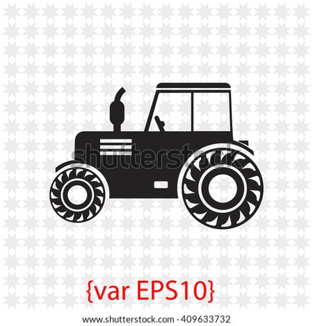 Tractor icon. Tractor vector. Simple icon isolated on gray background. - stock vector