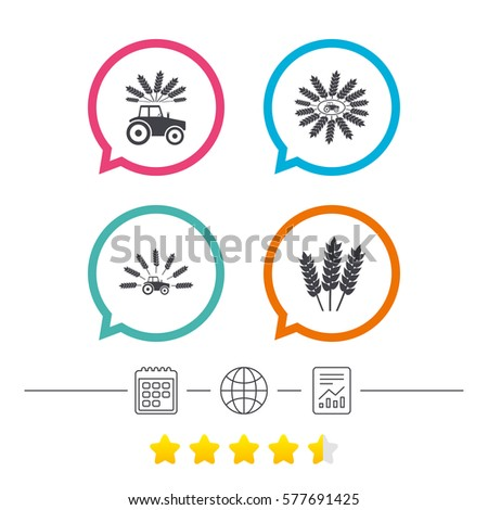Tractor Icons Wreath Wheat Corn Signs Stock Vector 577691425