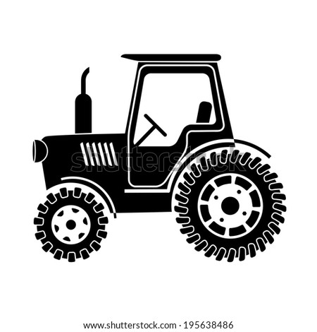 tractor on a white background - stock vector