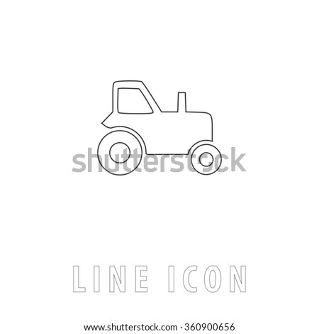 tractor Outline simple vector icon on white background. Line pictogram with text  - stock vector