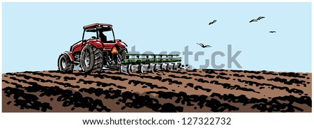 Tractor plowing a field. - stock vector