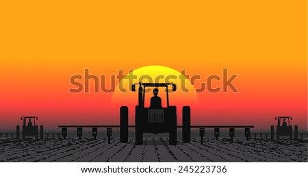 tractor processes the earth a rural landscape - stock vector