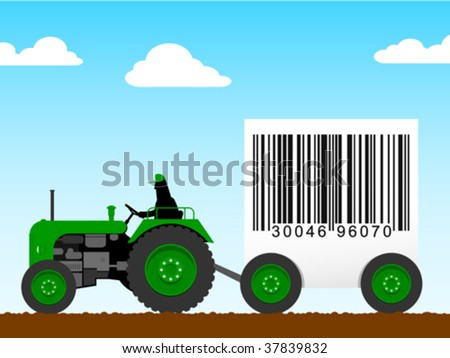 Tractor pulling a huge bar code - vector