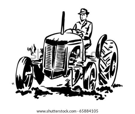 Tractor 2 - Retro Clipart Illustration - stock vector