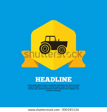 Tractor sign icon. Agricultural industry symbol. Yellow label tag. Circles seamless pattern on back. Vector - stock vector