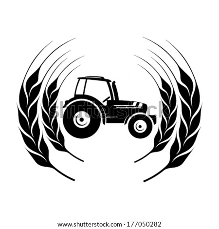 tractor symbol in a wheat frame - stock vector
