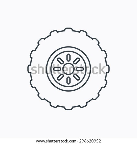 Tractor wheel icon. Tire service sign. Linear outline icon on white background. Vector - stock vector
