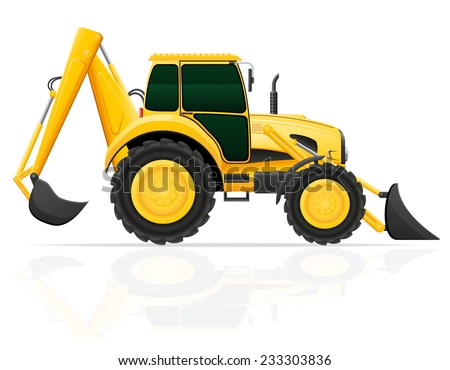 tractor with bucket front and rear vector illustration isolated on white background - stock vector