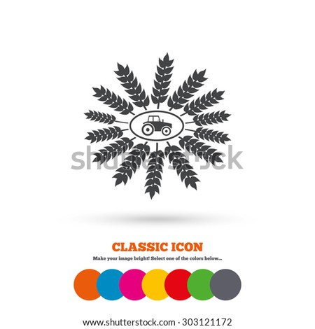 Tractor with wreath of Wheat corn sign icon. Agricultural industry symbol. Classic flat icon. Colored circles. Vector - stock vector