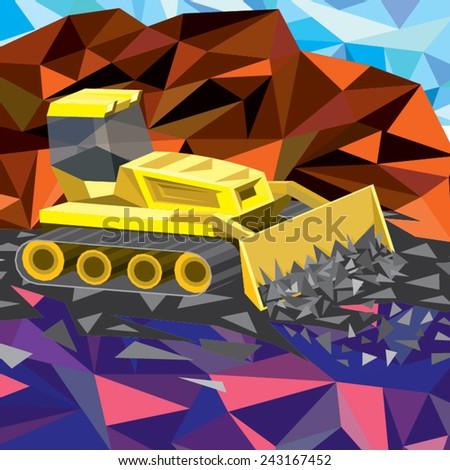 tractor working - stock vector