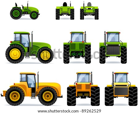 Tractors (Set #41). Set of the car icons in vector. - stock vector