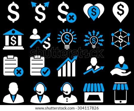 Trade business and bank service icon set. These flat bicolor icons use blue and white colors. Images are isolated on a black background. Angles are rounded. - stock vector