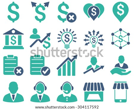 Trade business and bank service icon set. These flat bicolor icons use cobalt and cyan colors. Images are isolated on a white background. Angles are rounded. - stock vector