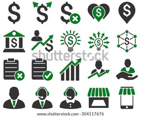 Trade business and bank service icon set. These flat bicolor icons use green and gray colors. Images are isolated on a white background. Angles are rounded. - stock vector