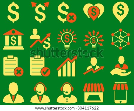 Trade business and bank service icon set. These flat bicolor icons use orange and yellow colors. Images are isolated on a green background. Angles are rounded. - stock vector