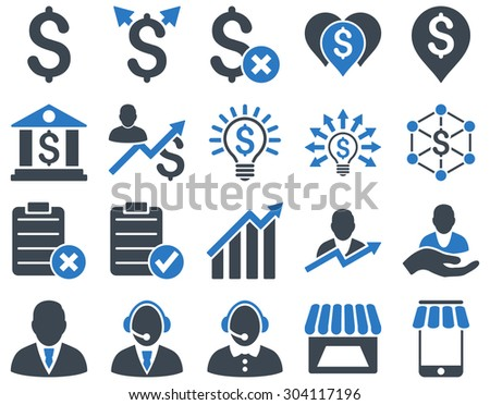 Trade business and bank service icon set. These flat bicolor icons use smooth blue colors. Images are isolated on a white background. Angles are rounded. - stock vector