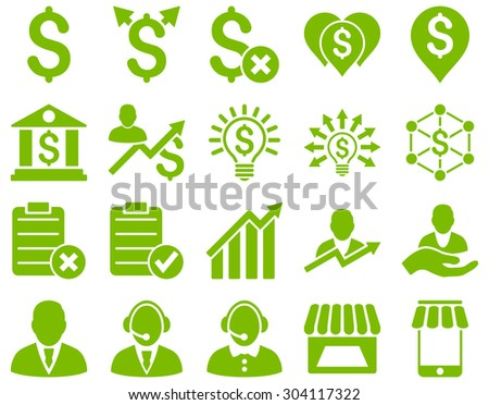 Trade business and bank service icon set. These flat icons use eco green color. Images are isolated on a white background. Angles are rounded. - stock vector