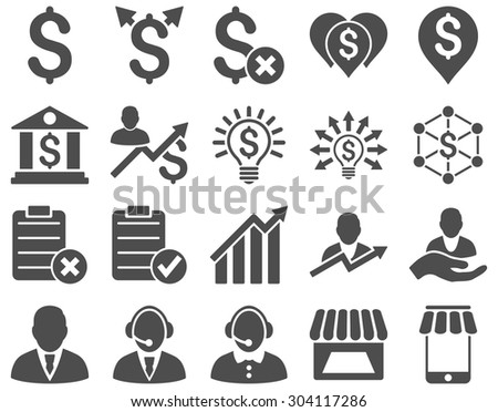 Trade business and bank service icon set. These flat icons use gray color. Images are isolated on a white background. Angles are rounded. - stock vector