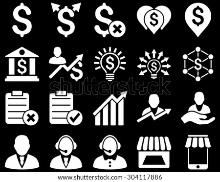 Trade business and bank service icon set. These flat icons use white color. Images are isolated on a black background. Angles are rounded. - stock vector