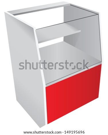 Trade counter with a glass showcase. Vector illustration. - stock vector
