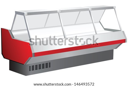 Trade counter with a showcase and cooling. Vector illustration. - stock vector
