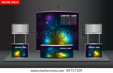trade exhibition stand and widescreen lcd monitor on promotion counter. with nice lights identity background ready for use design work. Vector template - stock vector