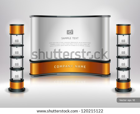 Trade exhibition stand display. Vector illustration. - stock vector