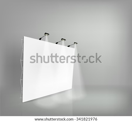 Trade exhibition stand, Exhibition round, 3D rendering visualization of exhibition equipment, Advertising space on a white background, stands with space for text ads, vector - stock vector