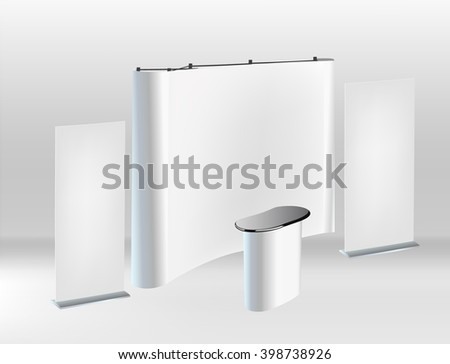 Trade exhibition stand, Exhibition round, 3D rendering visualization of exhibition equipment, Advertising space on a white background, with space for text ads, vector - stock vector