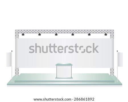 Trade exhibition stand glass and white flag banner - stock vector