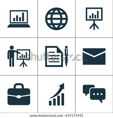 Trade Icons Set Collection Earth Contract Stock Vector 619172942