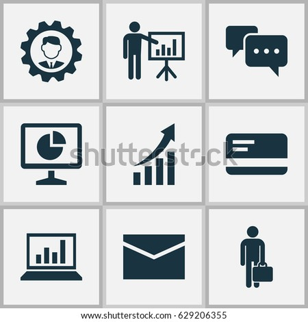 Trade Icons Set Collection Statistics Diagram Stock Vector Royalty