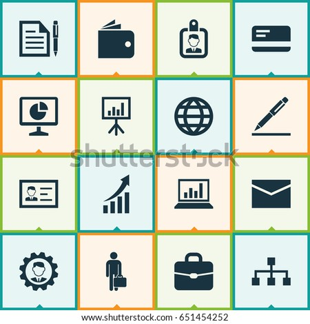 Trade Icons Set Collection Statistics Hierarchy Stock Vector