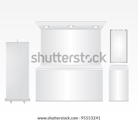 Trade stand and roll up illustration - stock vector