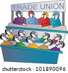 Trade union members in a meeting - stock vector