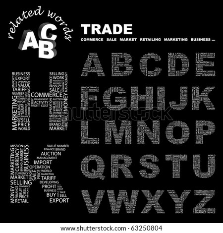 TRADE. Vector letter collection. Illustration with different association terms.